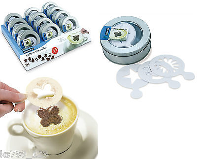 Coffee Cappuccino Hot Chocolate Stencil Set 16 pieces (per Tin) In Gift tin