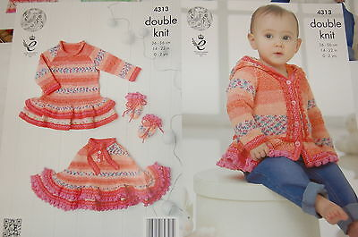 KINGCOLE 4313 - Baby DK Knitting Pattern -sizes 14-22 - Not the finished items