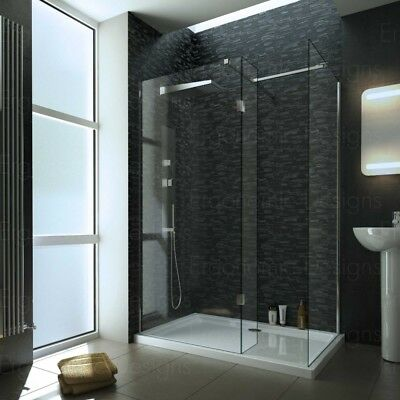 1400 x 900mm Walk In 10mm Wetroom Shower Enclosure With Tray and Waste