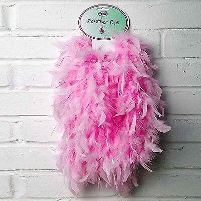 Kids Girls Pink Sparkly FEATHER BOA Fancy Dress Accessories - LUCY LOCKET