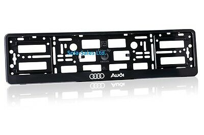 2 x AUDI Black Finish ABS Number Plate Surrounds Holder Frame + Free Screws