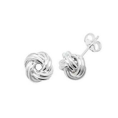 925 Sterling Silver Solid Ladies Knot Stud Earrings 8mm 1.4gr FREE UK SHIPPING