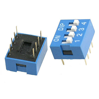 10 Pcs 2 Row 8 Pin 4P Positions 2.54mm Pitch DIP Switch Blue TP
