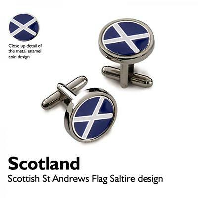 Scottish Flag CUFFLINKS St Andrews Cross Saltaire Christmas Present GIFT Box