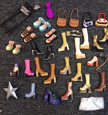 HUGE lot Of BRATZ Shoes Boots Sandals Slippers Heels Purses Brushes Accessories