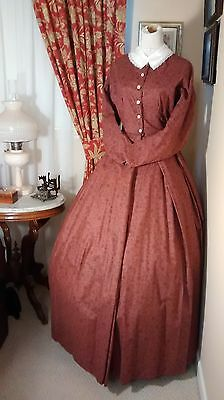 Civil War Reenactment Day Dress Size 12 Muted Red with Vine Flowers