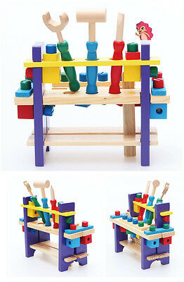 Colorful Building Block wood tools table Screw Hammer Ruler Spanner Toy