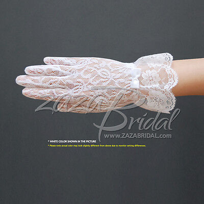Stretch floral lace gloves for girl with lace ruffle trim Wrist Length 2BL