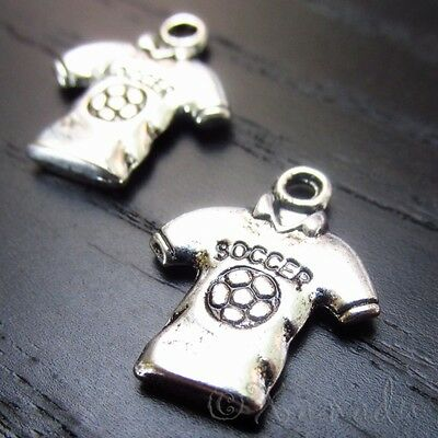 Soccer Jersey Nine Wholesale Silver Plated Sports Charms C4910 - 10, 20 Or 50PCs