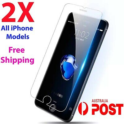2x Tempered Glass Screen Protector iPhone 11 PRO Max XR X XS 7 6s 8 4 plus forOO