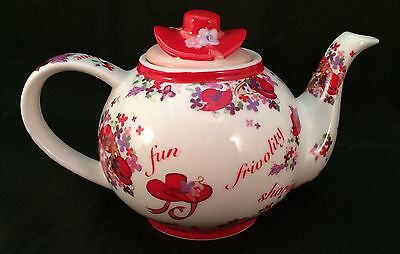 Paul Cardew Pink Chintz Red Hat Society Club Small 16 Oz Teapot Porcelain