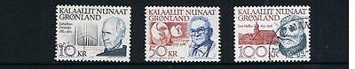 STAMPS  GREENLAND  1992  Famous Men 10KR, 50KR & 100 KR  (fine used)  lot A185