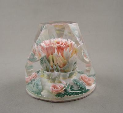 Vintage Facet Frustum of a Cone Lucite Paperweight w/ Flowers Roses Inside 1950s