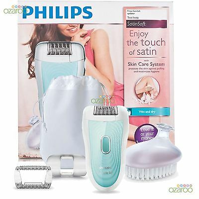 New Philips SatinSoft Ladies Wet & Dry Cordless Body Legs Epilator HP6521/01