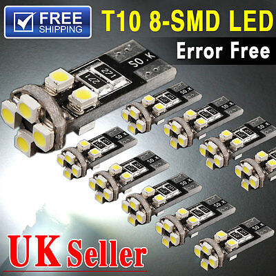 10x T10 Canbus 8SMD Led Error Free Xenon HID White W5W 501 Side Interior Light