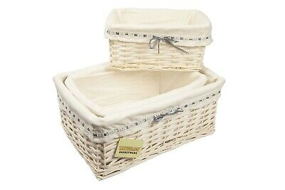 Woodluv Rectangular White Willow Wicker Hamper Storage Basket,In Sml ,Med or Lrg