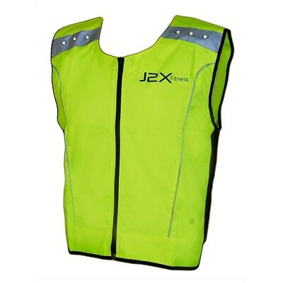 J2X Fitness LED Flashing High Visibility Reflective Running Cycling Vest Top Hi