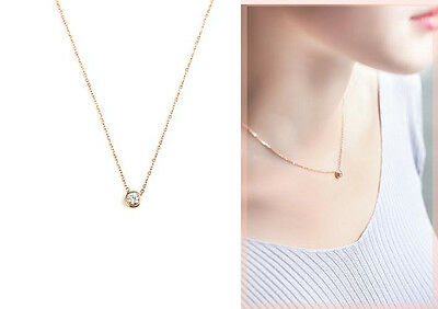 Lady's 18K White Gold / Rose Gold GP 6mm Simple Crystal Necklace Pendant Gift
