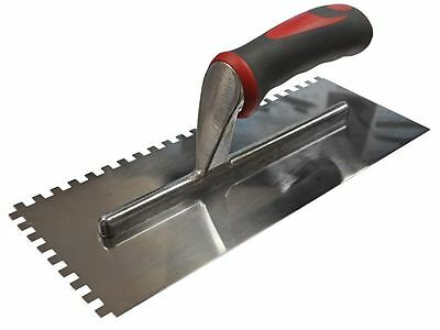 Faithfull - Notched Trowel Serrated 6mm Stainless Steel Soft Grip Handle 11
