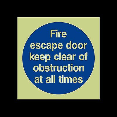 Fire Escape door keep clear of obstructions - Photoluminescent Sign / Sticker