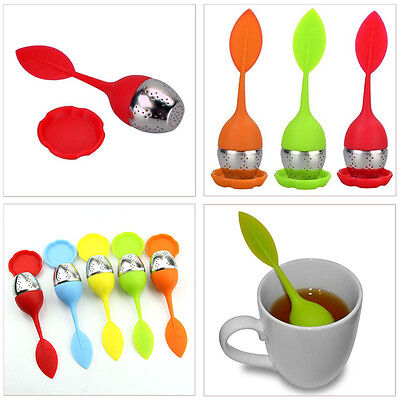 New Silicone&Stainless Steel Leaf Tea Strainer Teaspoon Infuser Spice Filter