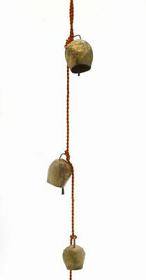 """Chime of Four Dome Shaped Tin Bells with Metal Striker on 25"""" Long Cord"""