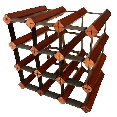 12 Bottle Timber Wine Rack - Dark Mahogany - Fully Assembled & Delivered