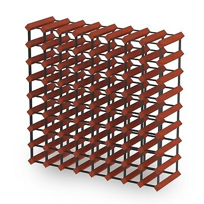 72 Bottle Timber Wine Rack - Dark Mahogany - Fully Assembled & Delivered
