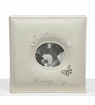 """NEW WHITE BUTTERFLY WEDDING PHOTO ALBUM & PHOTO COVER 6x4"""" (10 x 15cm) Large"""