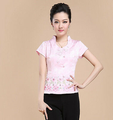 Fashion Women Jackets Free Shipping Embroider Flower Blouses Shirts Tops S-3XL