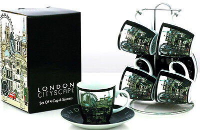 London Cityscape Fine Porcelain Espresso Coffee Cup/Mug Saucer set of 4 in stand