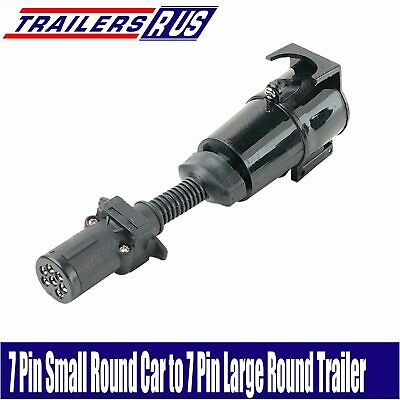 7 Pin Small Round to 7 Pin Large Round Trailer Connector Adaptor Plug