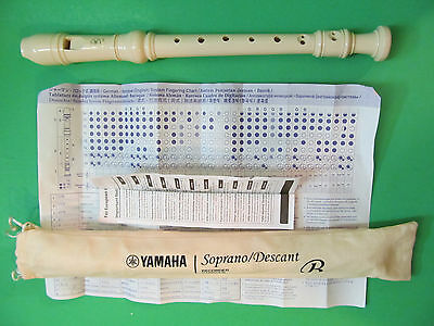Yamaha Flute Recorder Baroque YRS-24B Soprano/Descant With Instructions/Sleeve.