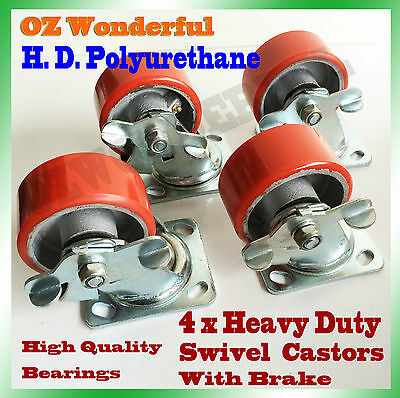 4 x 4'' SWIVEL CASTORS With Brake Industrial POLYURETHANE Casters Castor Wheels