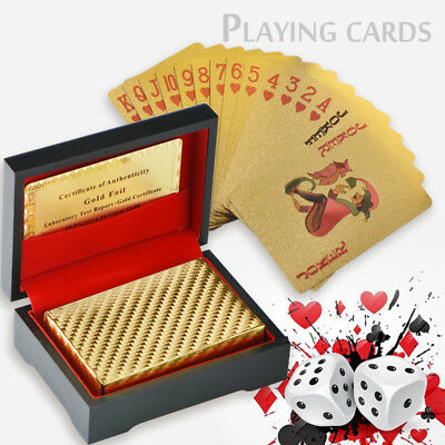 24K Gold Foil Plated Poker Playing Cards Traditional Set With Black Box Free COA