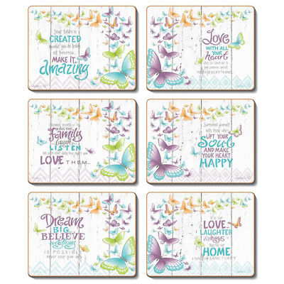 INNER LOVE - Set of 6 Placemats and Coasters Lisa Pollock Cork Back