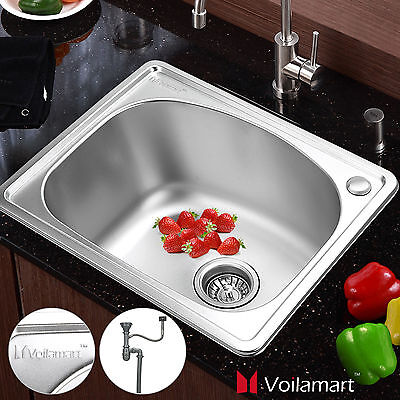 Stainless Steel Catering Sink 1 Bowl Topmount Undermount Laundry Kitchen Drainer