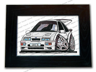 FORD SIERRA COSWORTH Sports Car Official Koolart Quality Glass Framed Picture