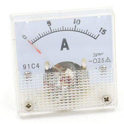Analog Meter Gauge Ammeter 91C4 Square DC Current 0-15A Class 5.0 44mm length
