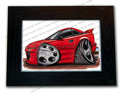 TOYOTA MR2 Classic Sports Car Official Koolart Quality Glass Framed Picture