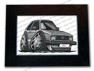 VOLKSWAGEN VW GOLF MK1 Hatchback Official Koolart Quality Glass Framed Picture