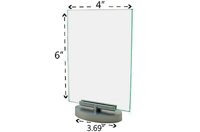 """Premium Acrylic 4""""W x 6""""H Rotating Table Sign Holder & Frame (Lot of 12)"""