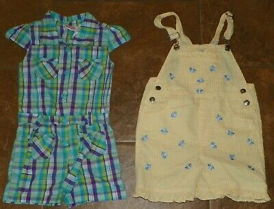 Girls YOUNG HEARTS Plaid One Piece JUMP SUIT Romper Overalls Shorts Size 6