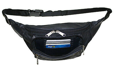 Music Festival Black Leather Fanny Pack Travel Pouch Hip Bag without Extension