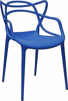 Dining Chair Outdoor Stackable Cafe Replica Kartell Philippe Starck LINE Blue