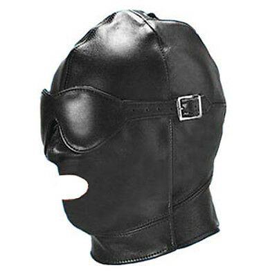 Faux/PU Leather Gimp Mouth Open Mask With Removable Blindfold Eyepatch