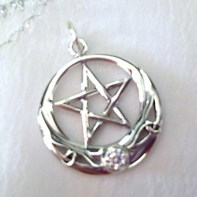 New Hallmarked 925 Silver With Clear Gem Stone Pentagram Star Moon Pendant