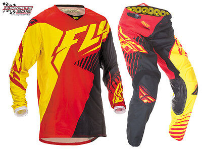 Fly Racing Kinetic Vector Motocross Combo 2016 Rot Gelb MX Enduro Hose Jersey