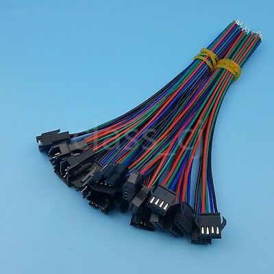 10Pairs JST SM 4Pin 15cm Male and Female 22AWG Led Strip Wire Connector