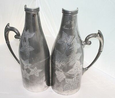 Wine Bottle Carrier Holder Meriden Silver Grapes Leaves Antique Silverplate